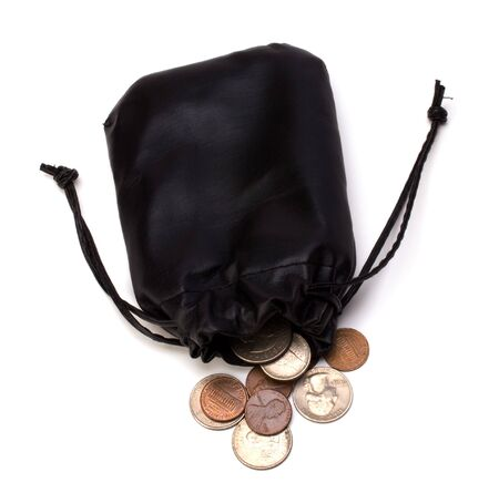 batch of euro: Money in leather  bag isolated on white  background