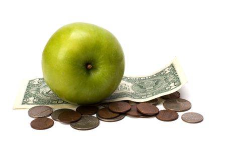 Apple and money isolated.  Health concept Stock Photo - 6491710