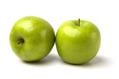 pith: green apples isolated on white background