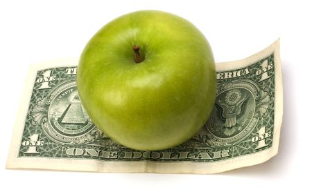 batch of euro: Apple and money isolated.  Health concept