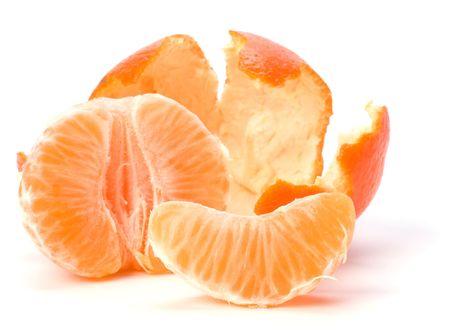 peeled mandarin isolated on white photo