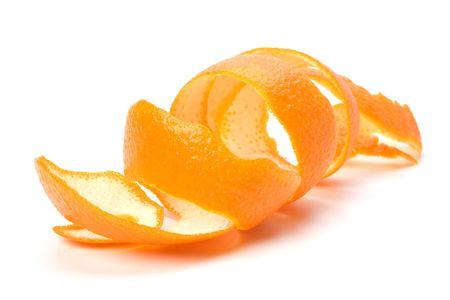 peels: orange spiral peel isolated on white