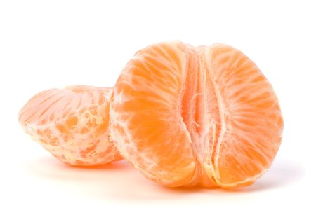 peeled mandarin segments isolated on white background Stock Photo - 6747638