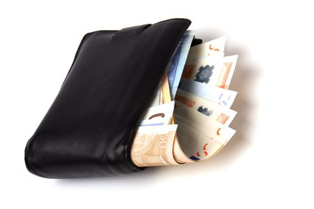 Money in leather  purse isolated on white  background Stock Photo - 6747642