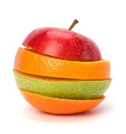 frutas en rodajas, aislados sobre fondo blanco Foto de archivo - 6747893