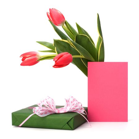 gift with pink tulips  isolated on white background photo