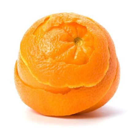 sauvegarde: Orange avec double couche de peau isol�e sur fond blanc. Concept de sauvegarde et de la s�curit�.