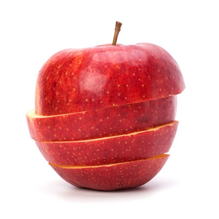 sliced  �  �  �  �: sliced apples isolated on white background