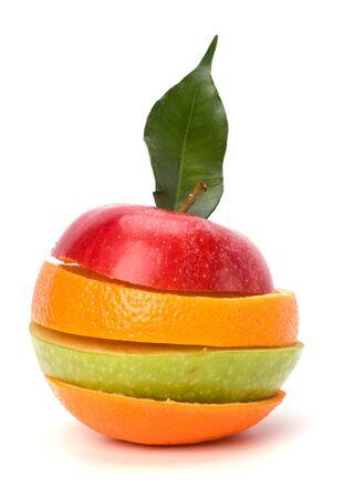 sliced fruits isolated on white background photo