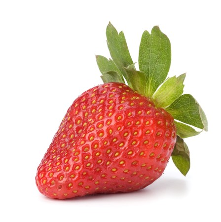 bacca: Strawberry isolated on white background close up Stock Photo