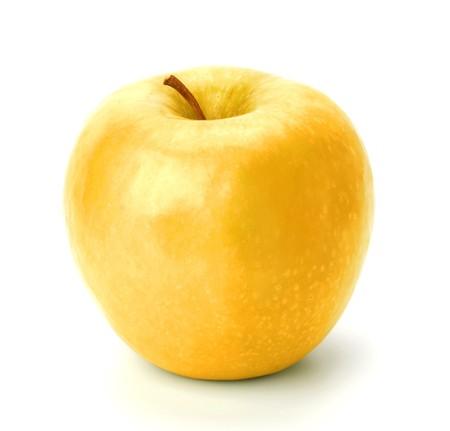 gold apple isolated on white background close up photo