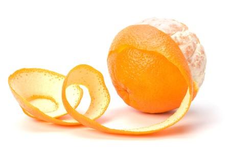 peeled: orange with peeled spiral skin isolated on white background