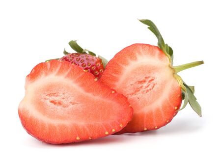 bacca: Halved strawberries isolated on white background Stock Photo