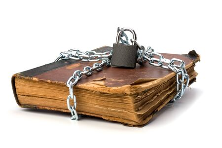 tattered book with chain and padlock isolated on white background Stock Photo - 7497767