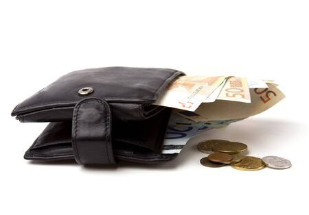 Money in leather  purse isolated on white  background Stock Photo - 7497370