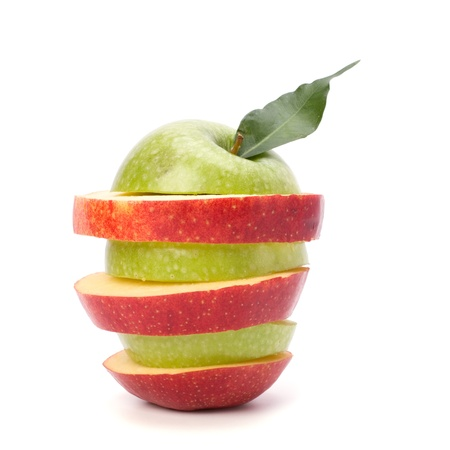 manzanas en rodajas aisladas sobre fondo blanco Foto de archivo - 8282434