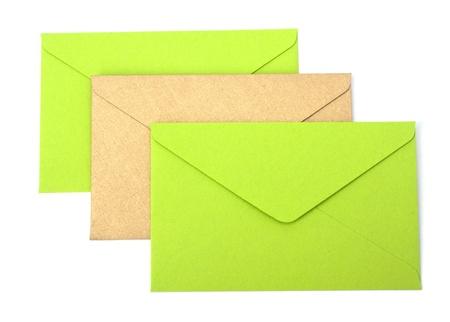 envelopes isolated on white background close up