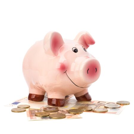 Business concept. Lucky piggy bank isolated on white background. Stock Photo - 8281700