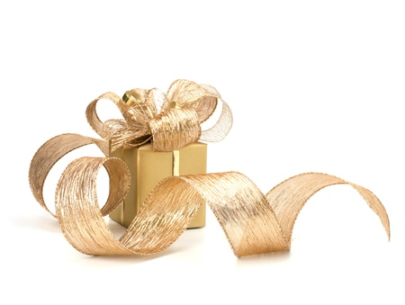 yellow ribbon: Luxurious gift isolated on white background Stock Photo