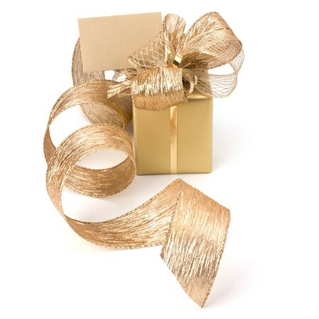 Luxurious gift with note isolated on white background photo