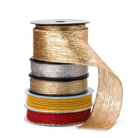 Festive ribbons stack isolated on white background photo
