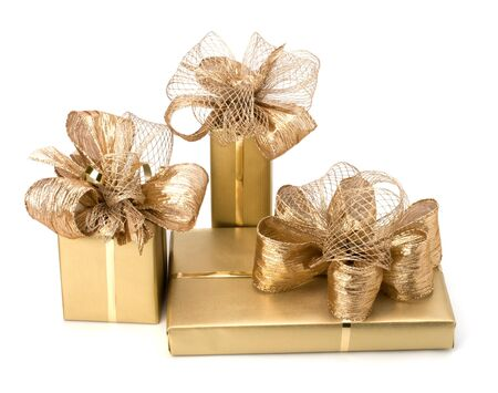 donative: Gold gifts isolated on white background