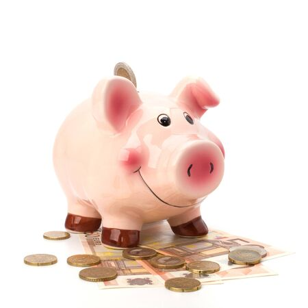 Business concept. Lucky piggy bank isolated on white background. photo