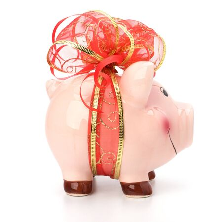 Christmas deposit concept. Piggy bank with festive bow isolated on white. Stock Photo - 8390123