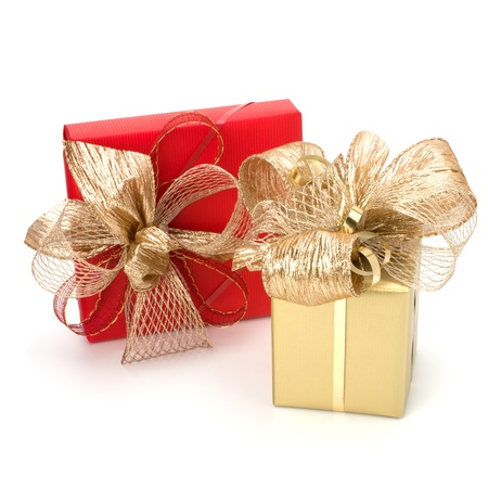 Luxurious gifts isolated on white background photo