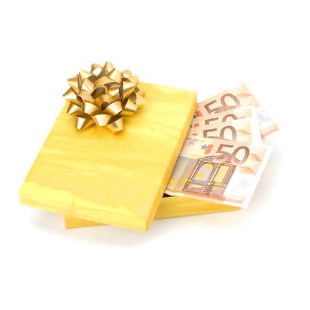 christmas profits: Dotation concept. Money inside gift box isolated on white background.