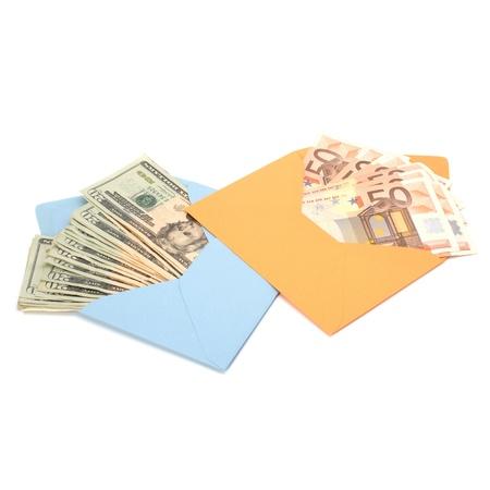 subornation: Corruption concept. Envelope full with money isolated on white. Stock Photo
