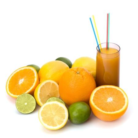 Citrus fruit juice isolated on white background photo