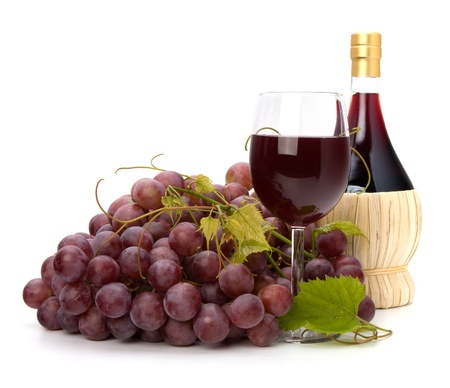 red wine glass, bottle and grape isolated on white background photo