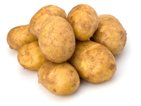 potatoes isolated on white background close up photo