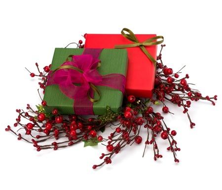 festive gift box stack isolated on white background photo