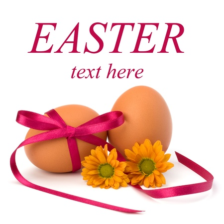 Easter egg with festive bow isolated on white background Stock Photo