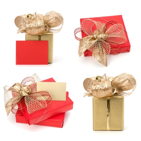 Luxurious gifts with note isolated on white background photo