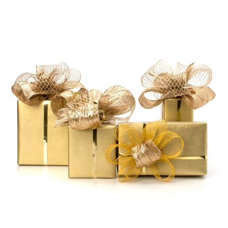donative: Luxurious gifts isolated on white background Stock Photo