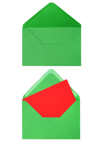 green envelope with card isolated on white background Stock Photo - 9053590