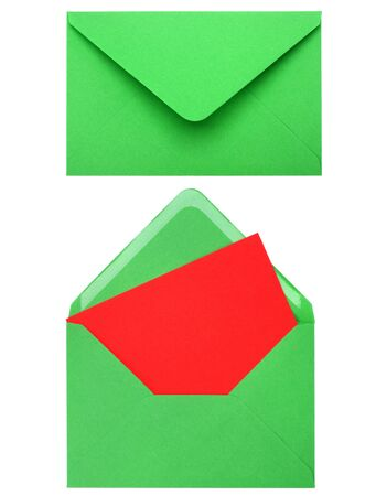 green envelope with card isolated on white background photo