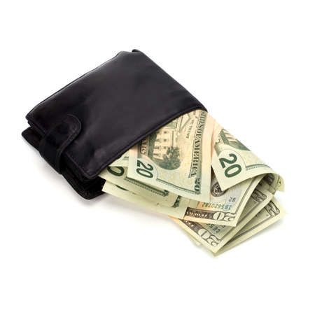 batch of euro: Money in leather  purse isolated on white  background