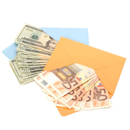 batch of euro: Corruption concept. Envelope full with money isolated on white. Stock Photo