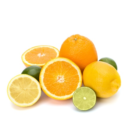 Citrus fruits isolated on white background photo