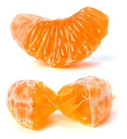 peeled mandarin segment isolated on white background photo