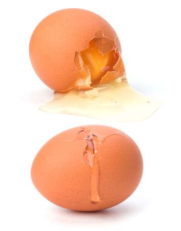 broken egg isolated on white background photo