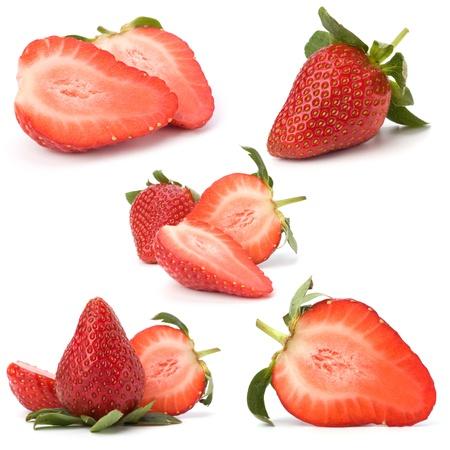 fraise: Fraises isol�s sur fond blanc