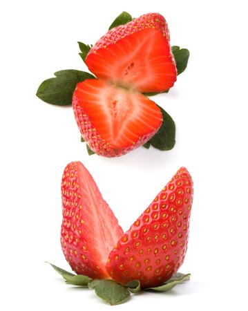 Halved strawberry isolated on white background photo