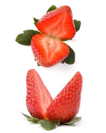 Halved strawberry isolated on white background Stock Photo - 9053637