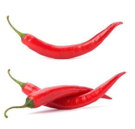 Papryka chili samodzielnie na biaÅ'ym tle Zdjęcie Seryjne