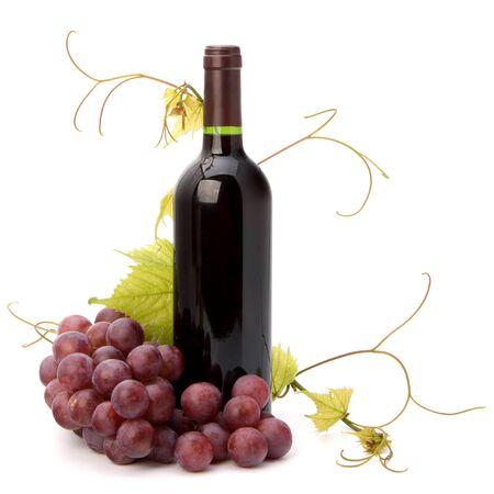 vitamin bottle: red wine bottle isolated on white background